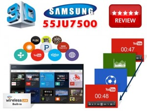 Review 3D Smart TV LED 4K Ultra HD Curved Samsung 55JU7500 WiFi Integrat