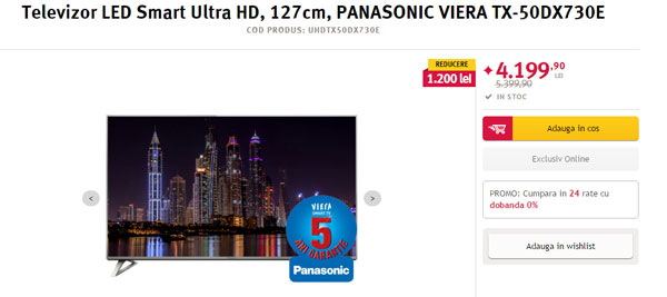 Televizorul LED Smart Panasonic, 126 cm, TX-50DX730E, 4K Ultra HD la 3899 lei pret Altex