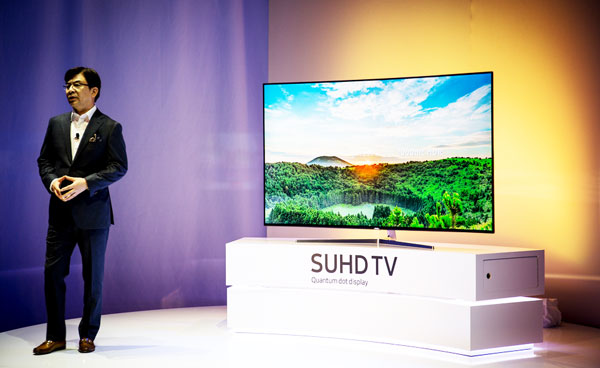 Samsung Flagship TV KS9500 SUHD 4K HDR Quantum Dot Display TV la CES 2016 Las Vegas