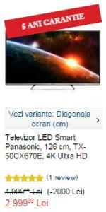 eMAG Pret redus la Televizorul LED Smart Panasonic, 126 cm, TX-50CX670E, 4K Ultra HD