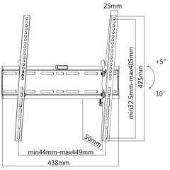 Suport TV universal de perete A+ SP44T, reglabil, diagonala 32-55 inch (81-140 cm)
