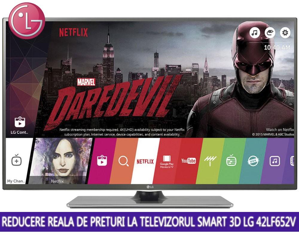 Reducere reala de pret la TV Smart 3D LG, 106 cm, 42LF652V oferta evoMAG
