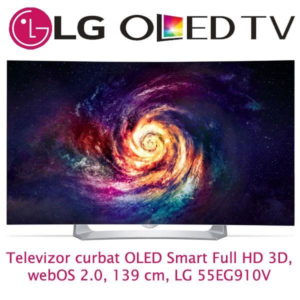 Televizor curbat OLED Smart Full HD 3D, webOS 2.0, 139 cm, LG 55EG910V