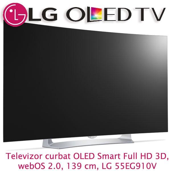 Televizor curbat OLED Smart Full HD 3D, weOS 2.0, 139 cm, LG 55EG910V