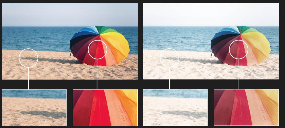 Culorile redate de un televizor OLED in zonele luminoase