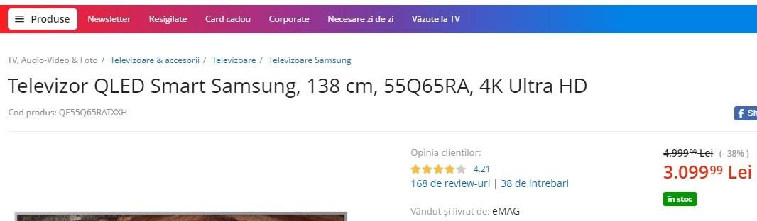 Cum citesti codurile de produs la televizoarele Samsung
