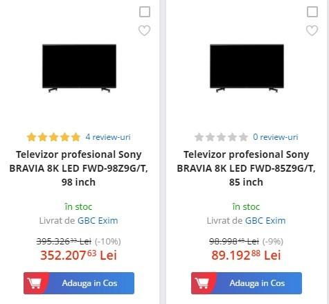 Cele mai scumpe televizoare 8K Sony si TV-urile profesionale